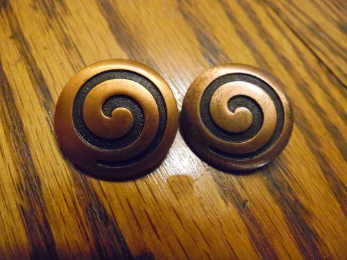 Vintage copper spiral design clip earrings