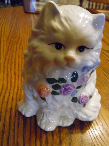 Ceramic white persian cat planter vase with roses