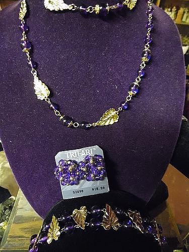 Trifari designer purple beaded necklace earrings bracelet set goldtone