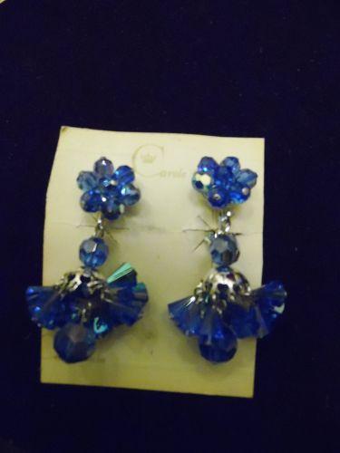 Vintage Carole California Blue aurora crystal chandelier clip earrings