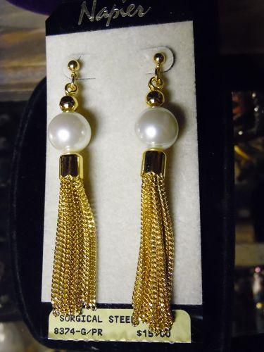 Napier gold tone pearl and tassel pierced earrings mint on card
