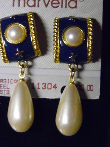 Vintage Marvella navy enamel  pierced earrings with large pearl drop