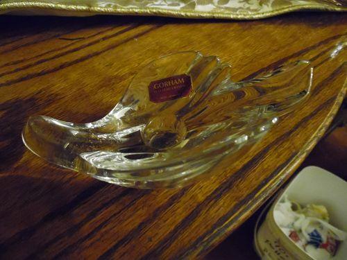 Gorham crystal dove candle holder