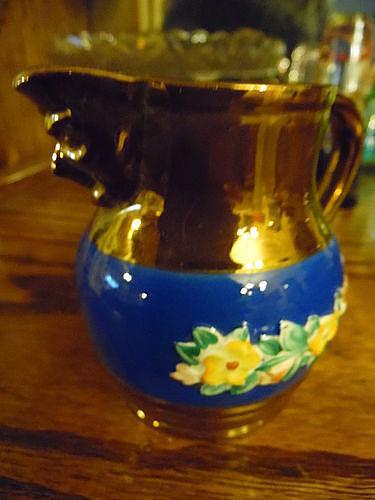 Vintage Staffordshire Sandland Copper Lustre cream pitcher mask spout
