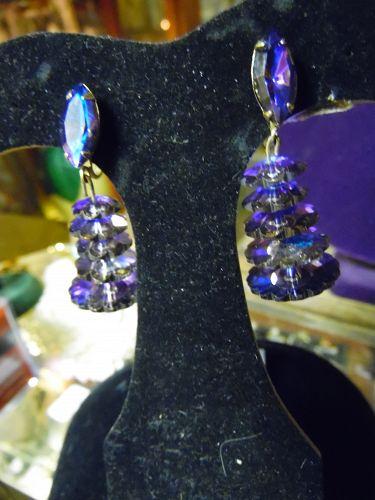 1960s Lewis Segal Earrings Vitrail Rivoli Glass Beads Tiered purple
