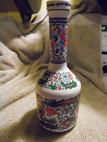 "METAXA Hand Made Porcelain Bottle Decanter ~ W/Lid ~ ""S & E & A METAXA"