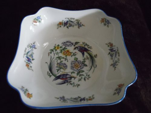 Chamart Limoges France  large square  bowl with birds and flowers