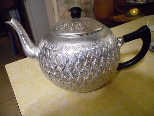 Hand Crafted vintage Thailand Aluminum teapot BEAUTIFUL