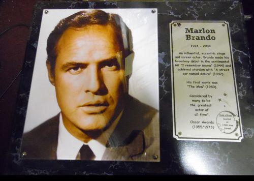 Marlon Brando Commemorative photo walk of fame plaque