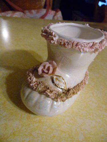 Vintage lustreware baby bootie vase with spaghetti trim