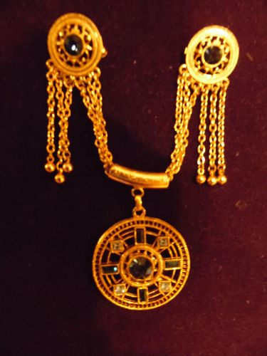 Fancy gold tone medallion style sweater pin clip guard