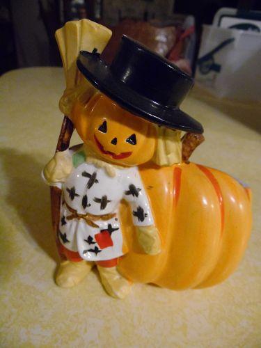 Vintage Relpo Pumpkin Scarecrow planter A1698