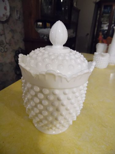 Fenton milk glass hobnail covered candy dish