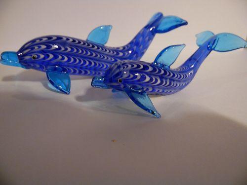 Set of 2 Lenox art glass dolphin figurines