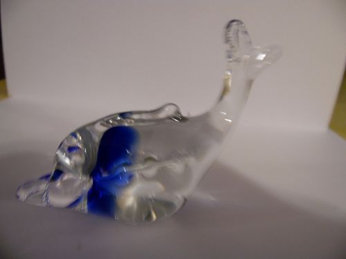 Crystal clear blown glass whale figurine paperweight