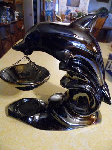 "Irridescent black dolphin tea light oil warmer 9"""