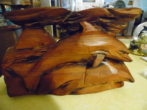 Redwood chainsaw carved Dolphin