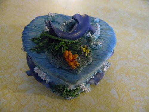Heart shape dolphin trinket box hand painted resin