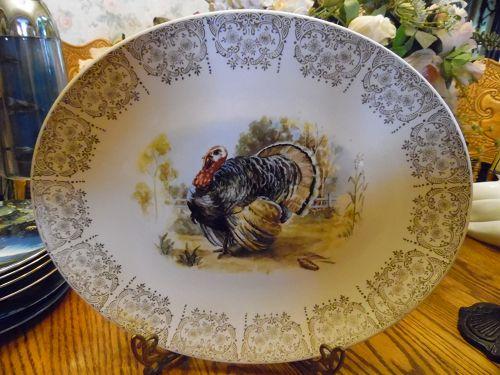 "Vintage Knowles platter with turkey center filigree edge 15"""