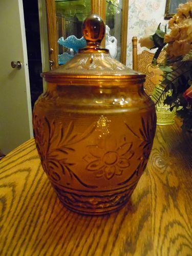 Anchor Hocking AMBER Indiana SANDWICH Vintage Gold COOKIE JAR & LID