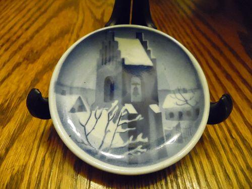 Royal Copenhagen delft blue mini plate Snowy mission church