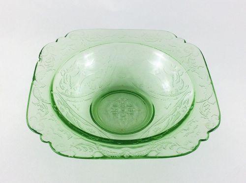 """Vintage Green madrid 7"""" soup bowl Federal depression glass"""