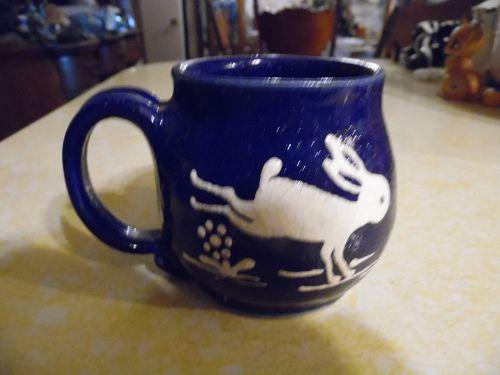 Orcas Island Pottery Trudy Erwin  San Juan blue bunny rabbit mug