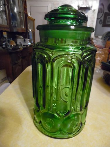 Beautiful Emerald Green LE Smith Moon & Stars Flour Canister 11""
