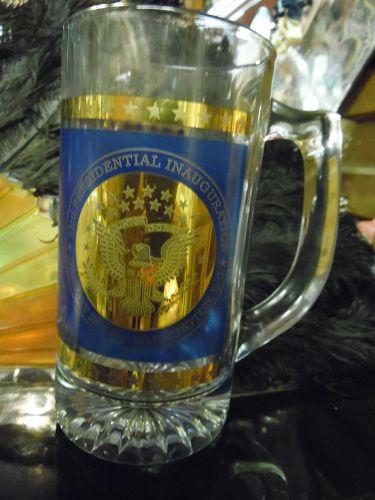 Crystal Bill Clinton Al Gore 1997  Inagural mug shiny Gold and blue