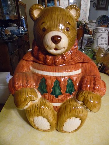 Ceramic Teddy Bear wearing sweater cookie jar by The Cellar