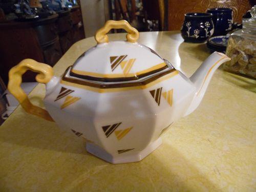 Vintage ME Bavaria porcelain oval octagon teapot