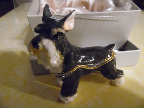 Black and white schnauzer dog enameled  jeweled trinket box