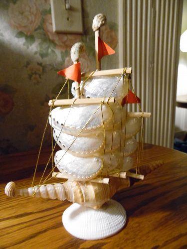 Sailing ship made of shells and abalone