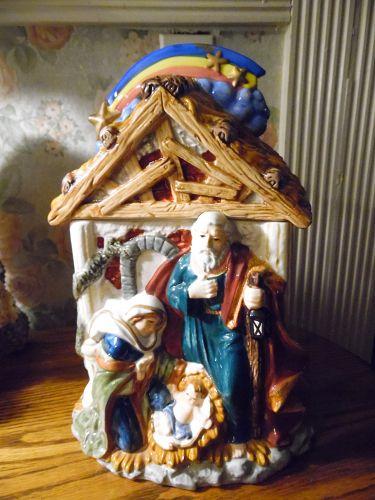 Birth of Jesus Manger ceramic cookie jar by Mercuries