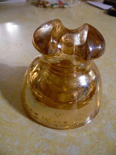 Pyrex marigold carnival glass insulator Pristine condition