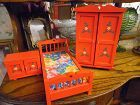 Wood hand painted doll furniture bedroom set, fashion doll size