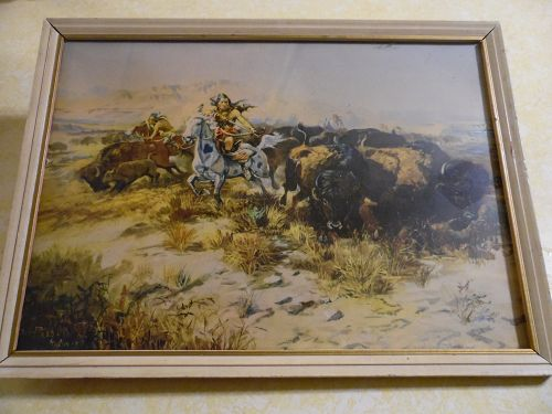 Vintage Russel framed print, Buffalo Hunt (Wild Meat for Wild men)