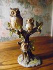 Enesco owl family in oak tree bisque figurine