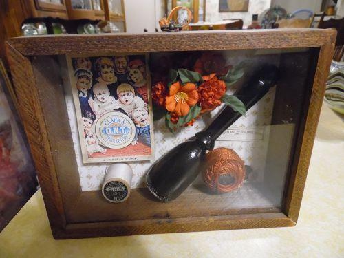 Victorian style sewing darning oak shadowbox