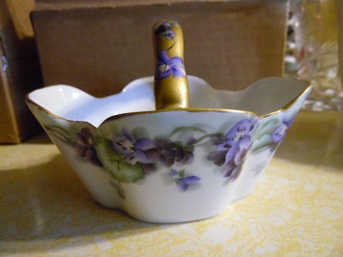 Lovely antique Bavaria porcelain basket hand painted violets