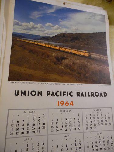 Union Pacific Railroad calendar 1964 12.5 x 23 Complete