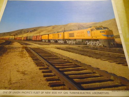 Union Pacific New 8500 HP Gas Turbine -Electric  color print late 50s