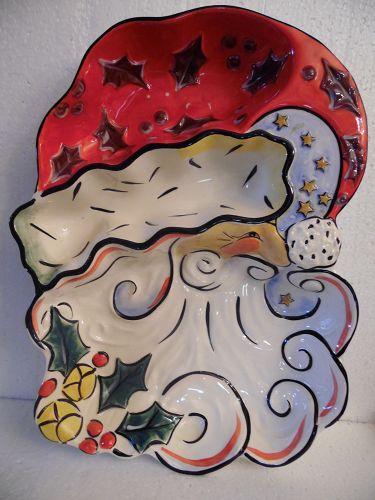 Clay Art Merry Santa chip and dip platter 2004