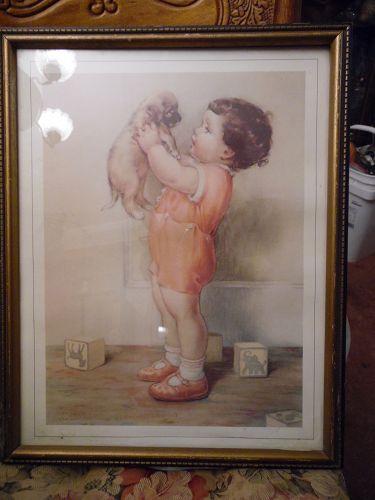 """Vintage framed Bessie Pease Gutmann original print """"Mine"""""""