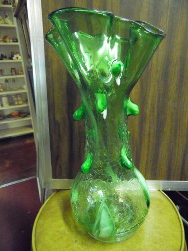 """Lovely Large Zarrin Darius art glass green crackle vase 16.25"""""""