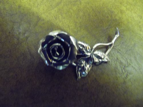 Vintage Beau Sterling silver Rose pin