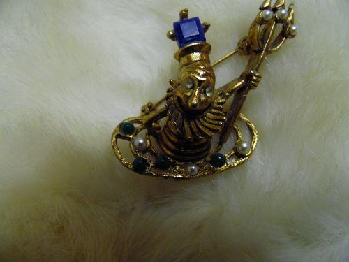 Vintage Whimsical  Neptune Poseidon Aquarius Triton Devil brooch pin
