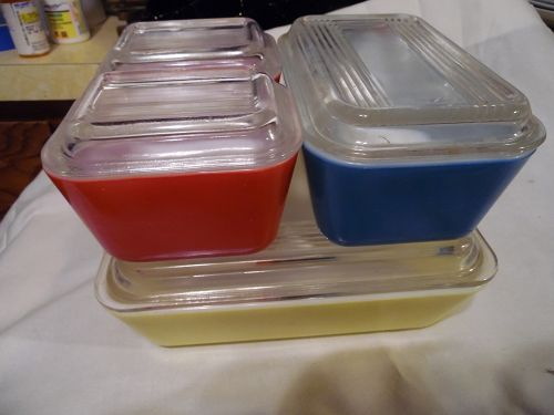 Vintage Pyrex Primary Colors Refrigerator Dish Set -Yellow/Blue/Red