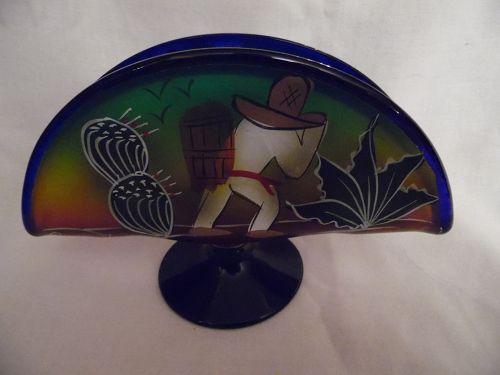 Hand painted blown glass taco napkin holder Puerto Vallarta