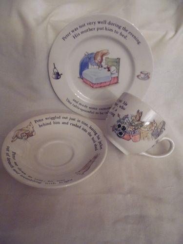 Wedgewood of Etruria &Barlaston childs set Beatrix Potter Peter Rabbit